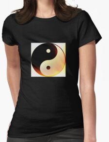 Yin and Yang Flame Womens Fitted T-Shirt