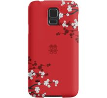 White Sakura Cherry Blossoms on Red and Chinese Wedding Double Happiness Samsung Galaxy Case/Skin