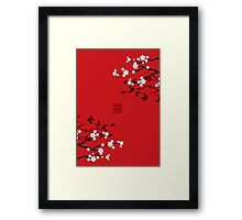 White Sakura Cherry Blossoms on Red and Chinese Wedding Double Happiness Framed Print