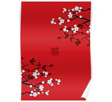 White Sakura Cherry Blossoms on Red and Chinese Wedding Double Happiness Poster