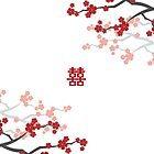 Red Sakura Cherry Blossoms on White & Chinese Wedding Double Happiness Symbol by fatfatin