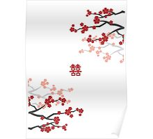 Red Sakura Cherry Blossoms on White & Chinese Wedding Double Happiness Symbol Poster