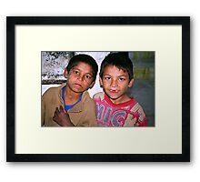 street kids. kathmandu, nepal Framed Print