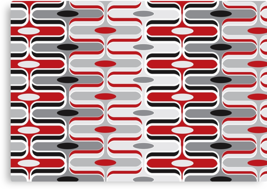 Retro Mod Curves Red and Black Abstract Pod Pattern by fatfatin