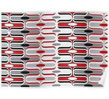 Retro Mod Curves Red and Black Abstract Pod Pattern Poster