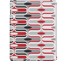 Retro Mod Curves Red and Black Abstract Pod Pattern iPad Case/Skin