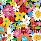 Colorful Whimsical Spring Flowers Garden by fatfatin