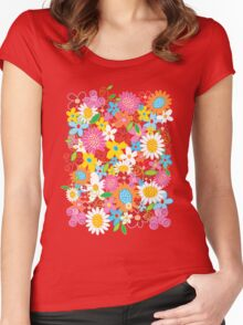 Colorful Whimsical Spring Flowers Garden Women's Fitted Scoop T-Shirt