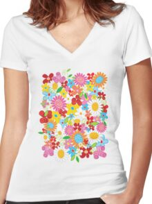 Colorful Whimsical Spring Flowers Garden Women's Fitted V-Neck T-Shirt