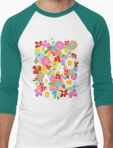 Colorful Whimsical Spring Flowers Garden Men's Baseball ¾ T-Shirt
