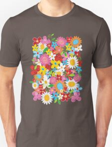 Colorful Whimsical Spring Flowers Garden Unisex T-Shirt