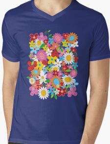 Colorful Whimsical Spring Flowers Garden Mens V-Neck T-Shirt