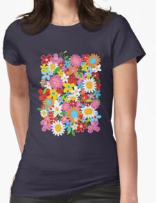Colorful Whimsical Spring Flowers Garden Womens Fitted T-Shirt