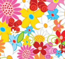 Colorful Whimsical Spring Flowers Garden Sticker