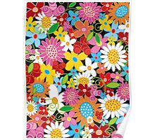 Colorful Whimsical Spring Flowers Garden Poster