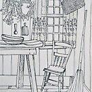 Cottage pen sketch. Elizabeth Moore Golding 1994Ⓒ by Elizabeth Moore Golding
