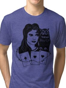 Woman with Owl Tri-blend T-Shirt