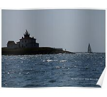 Watch Hill Lighthouse, Sailboat, Man Fishing  Poster