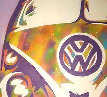 Purple VW Combi Van by Laura Fowler