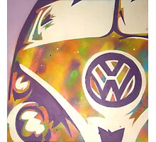 Purple VW Combi Van Photographic Print