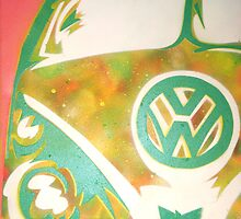 Green VW Combi Van by Laura Fowler