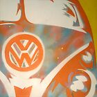Orange VW Combi Van by Laura Fowler