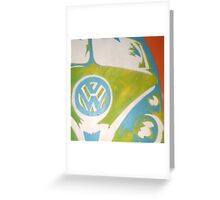 Blue VW Combi Van Greeting Card