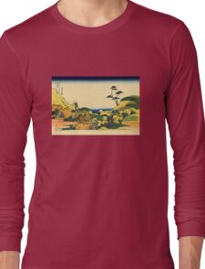 'Shimomeguro' by Katsushika Hokusai (Reproduction) Long Sleeve T-Shirt