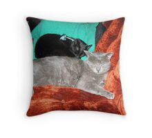 2 boys curled up Throw Pillow