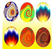 6 fractal Easter eggs Photographic Print