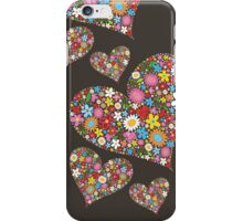 Whimsical Spring Flowers Valentine Hearts Trio iPhone Case/Skin