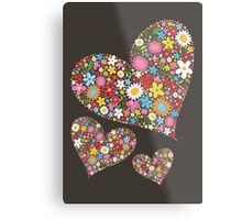 Whimsical Spring Flowers Valentine Hearts Trio Metal Print