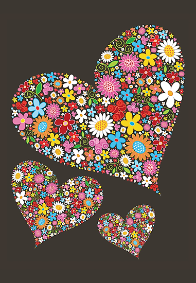 Whimsical Spring Flowers Valentine Hearts Trio by fatfatin