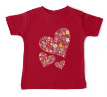 Whimsical Spring Flowers Valentine Hearts Trio Baby Tee