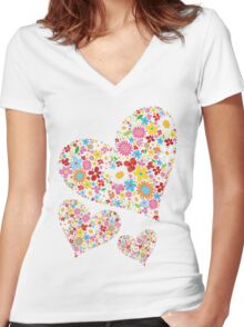 Whimsical Spring Flowers Valentine Hearts Trio Women's Fitted V-Neck T-Shirt