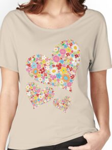 Whimsical Spring Flowers Valentine Hearts Trio Women's Relaxed Fit T-Shirt