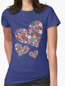 Whimsical Spring Flowers Valentine Hearts Trio T-Shirt