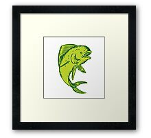 Dolphin Fish Jumping Etching Framed Print