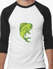 Dolphin Fish Jumping Etching Men's Baseball ¾ T-Shirt