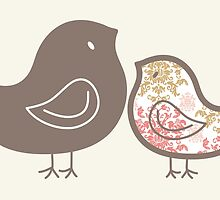 Pink Damask Sweet Mommy and Baby Chicks by fatfatin