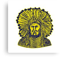Native American Indian Chief Warrior Etching Canvas Print