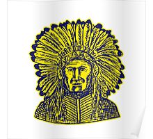 Native American Indian Chief Warrior Etching Poster