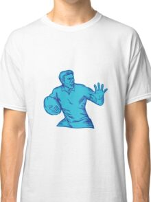 Rugby Player Running Fending Etching Classic T-Shirt