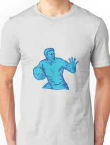 Rugby Player Running Fending Etching Unisex T-Shirt