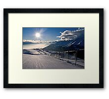 skiing in the sun Framed Print