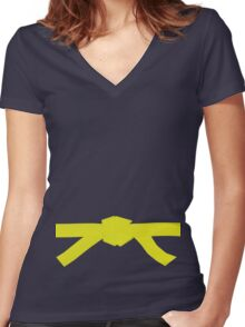 Judo Yellow Belt Women's Fitted V-Neck T-Shirt