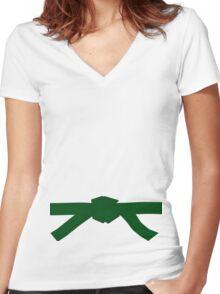 Judo Green Belt Women's Fitted V-Neck T-Shirt
