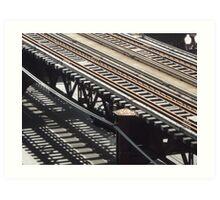 Train track shadows Art Print