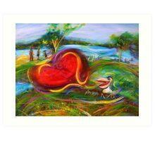 Big Pelican at the Noosa River Art Print
