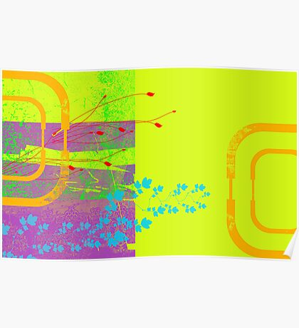 Abstract Dayglow Foliage Poster